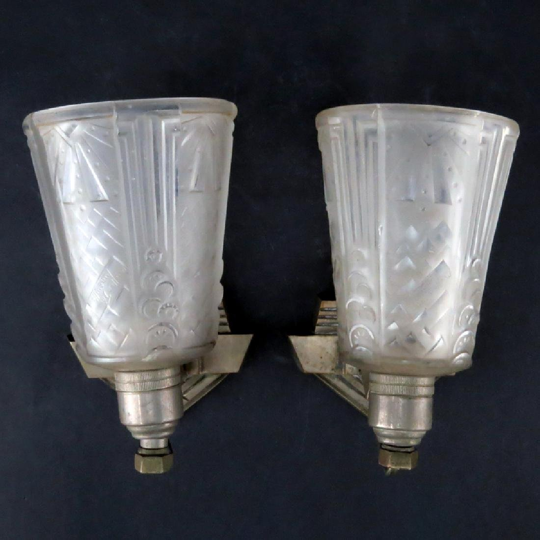 Pair of French Art Deco Sabino Style Frosted Glass Wall