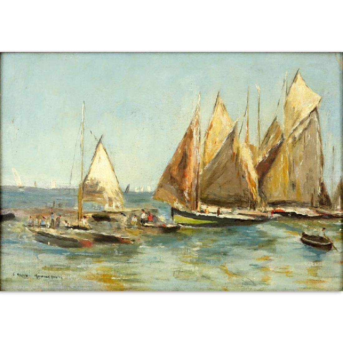 """19th or 20th Century Oil on Panel """"Sailboats"""" Signed G."""