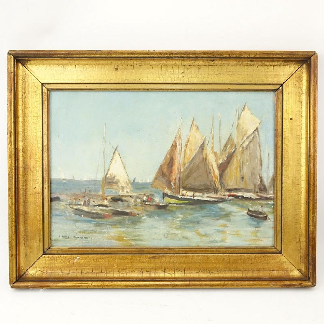 """19th or 20th Century Oil on Panel """"Sailboats"""" Signed G. - 2"""