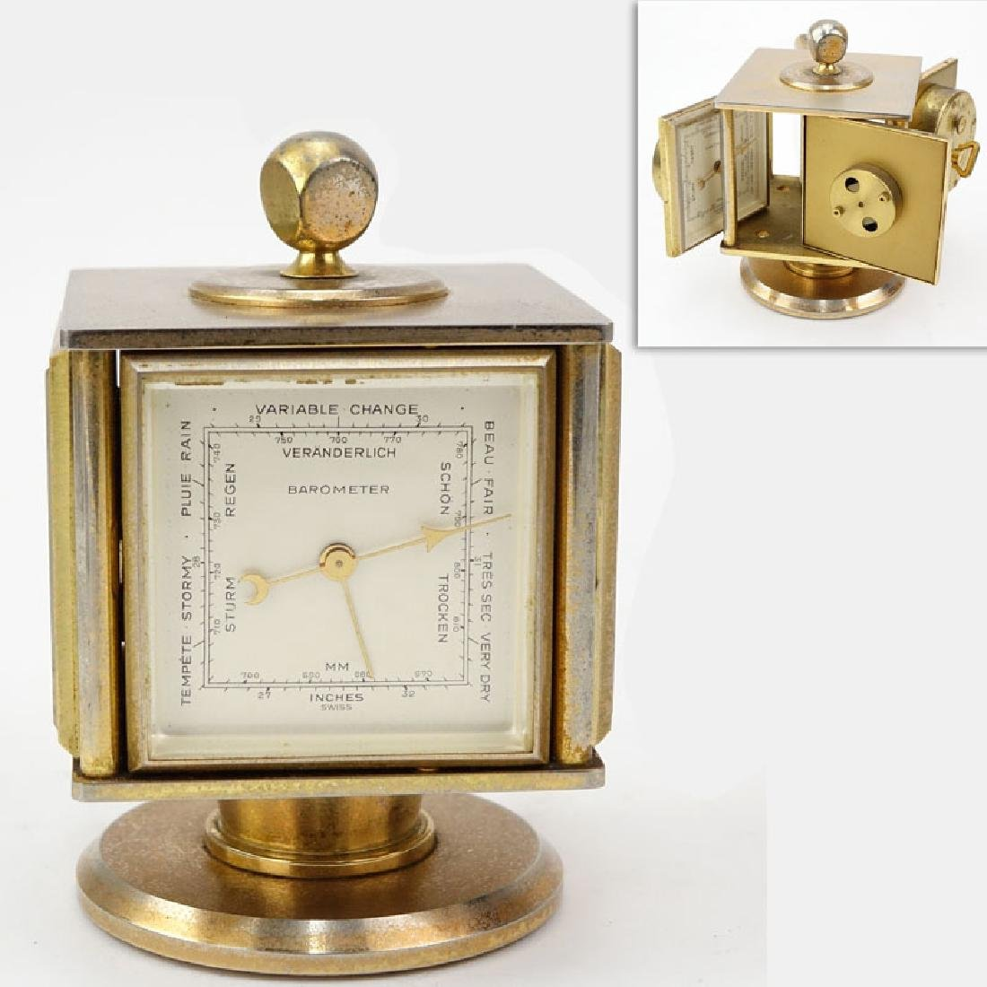 Vintage Bucherer Imhof 4 Sided Art Deco Table Clock.