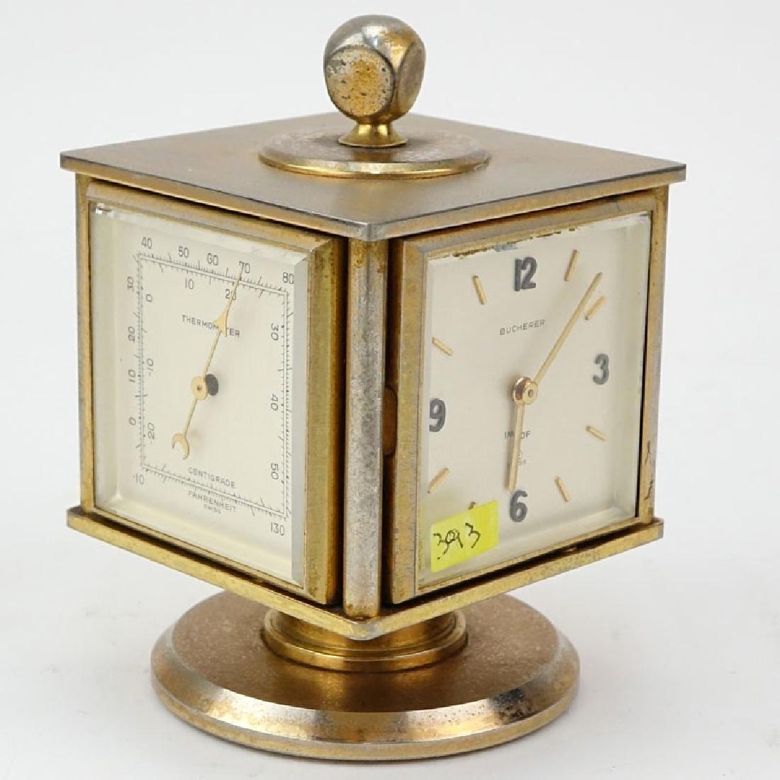 Vintage Bucherer Imhof 4 Sided Art Deco Table Clock. - 4