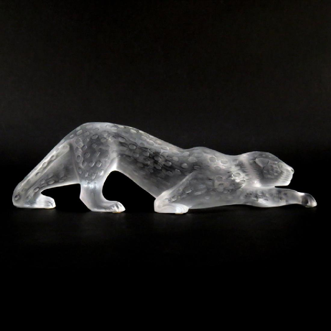Lalique, France Frosted and Clear Glass Panther. Etched