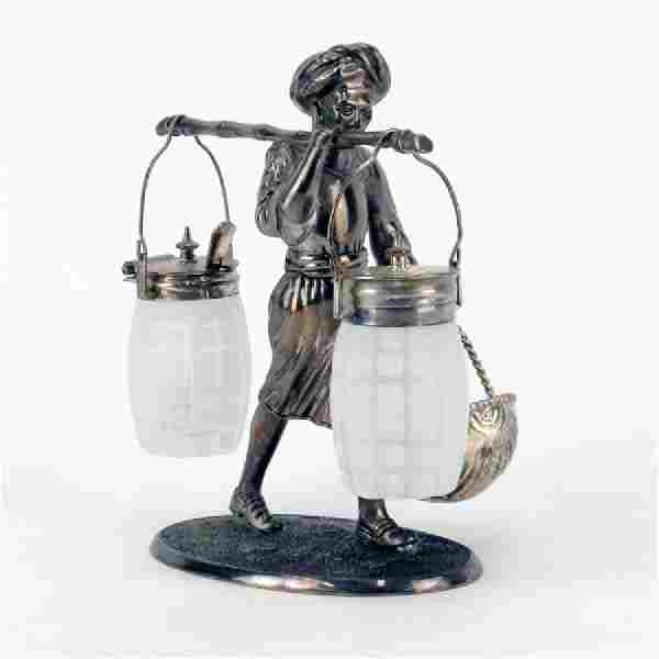 Vintage Silverplate and Glass Figural Nubian Condiment