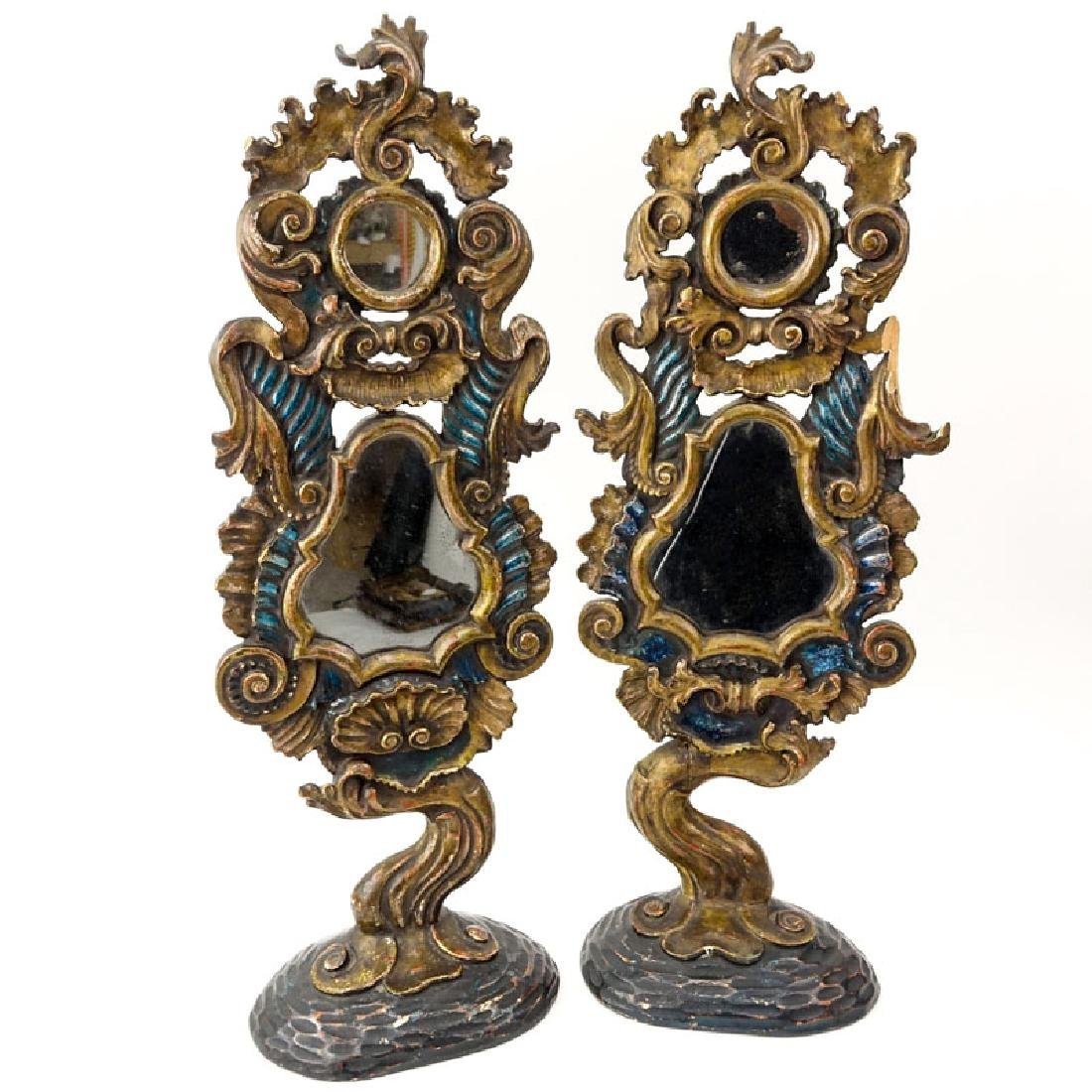 Pair of Italian Rococo Style Polychrome Carved Wood