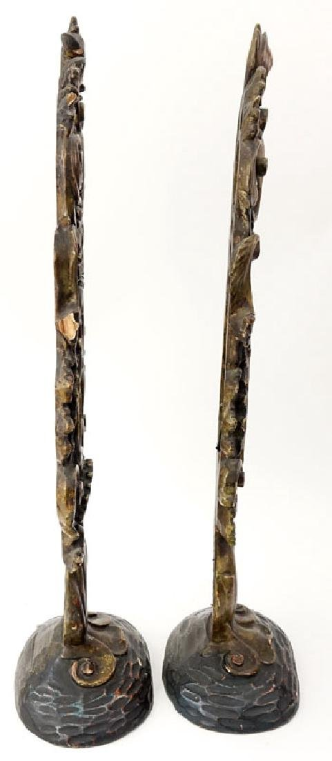 Pair of Italian Rococo Style Polychrome Carved Wood - 2