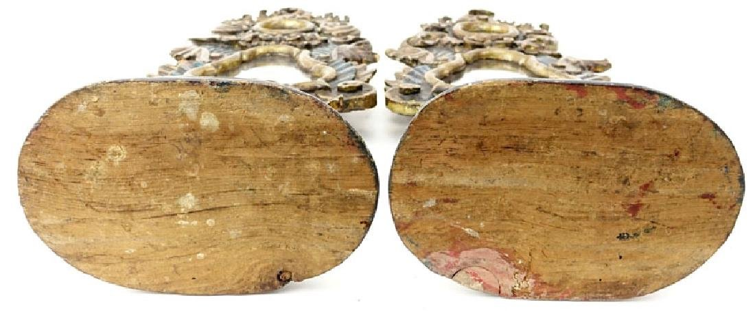 Pair of Italian Rococo Style Polychrome Carved Wood - 4