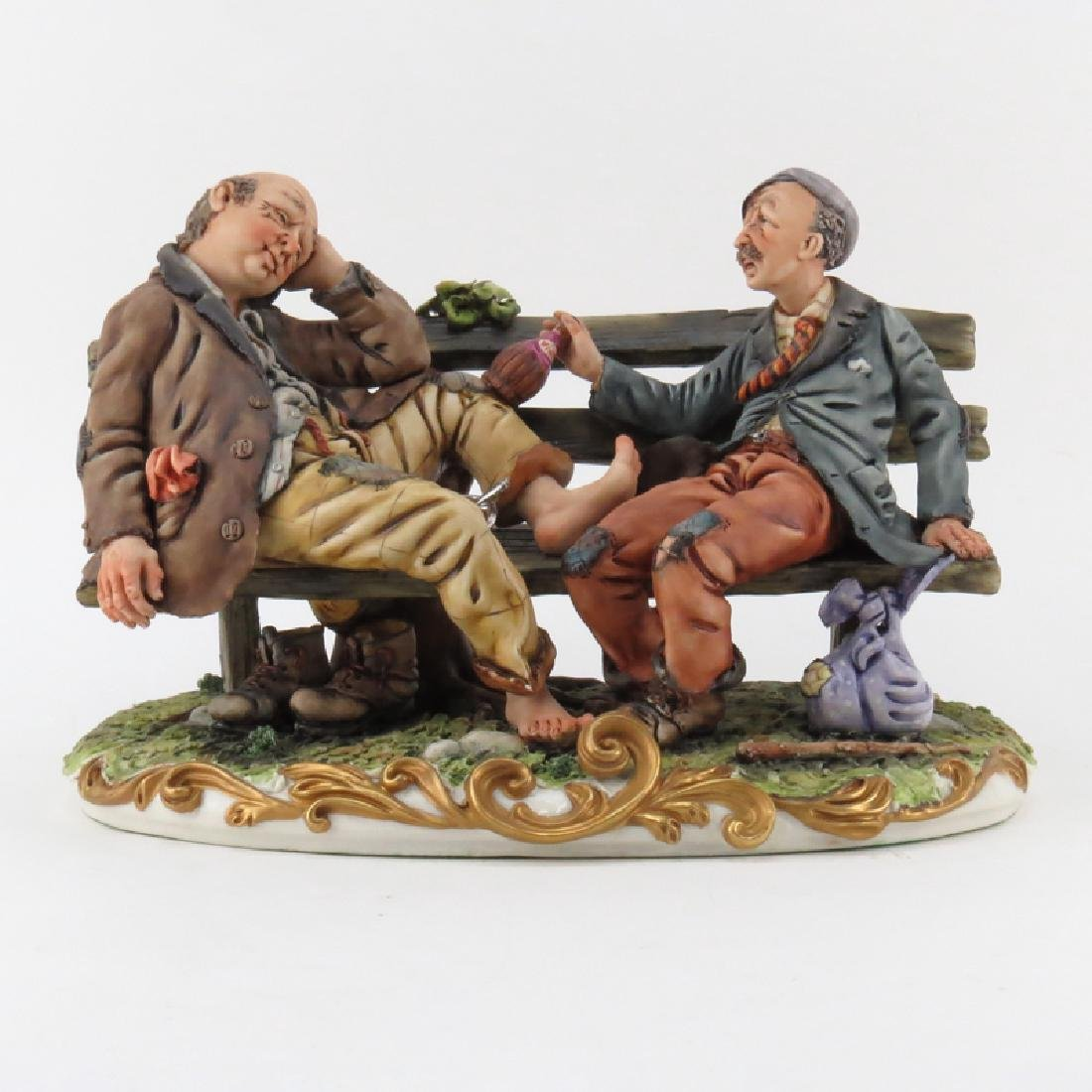 Vintage Capodimonte Porcelain Group, Two Tramps on