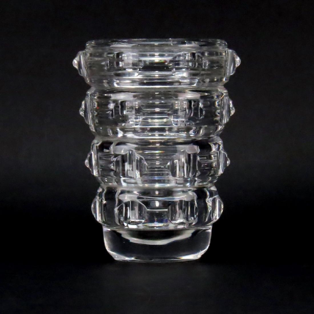 Mid Century French Art Deco Style Crystal Vase. Signed