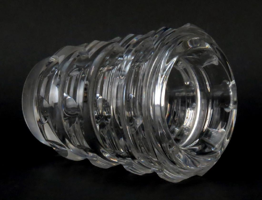 Mid Century French Art Deco Style Crystal Vase. Signed - 2