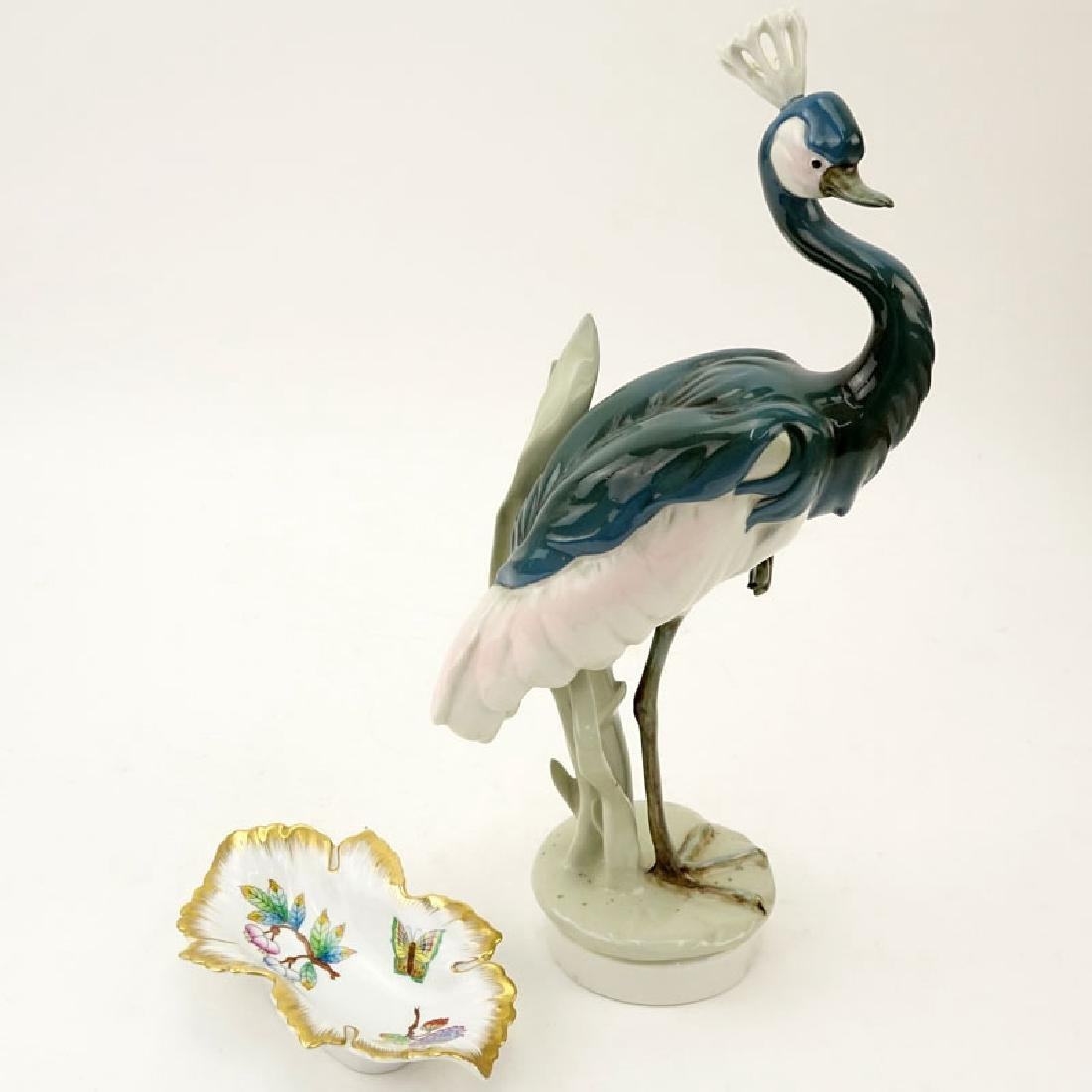 Vintage Royal Dux Grey Crowned Crane Figure together