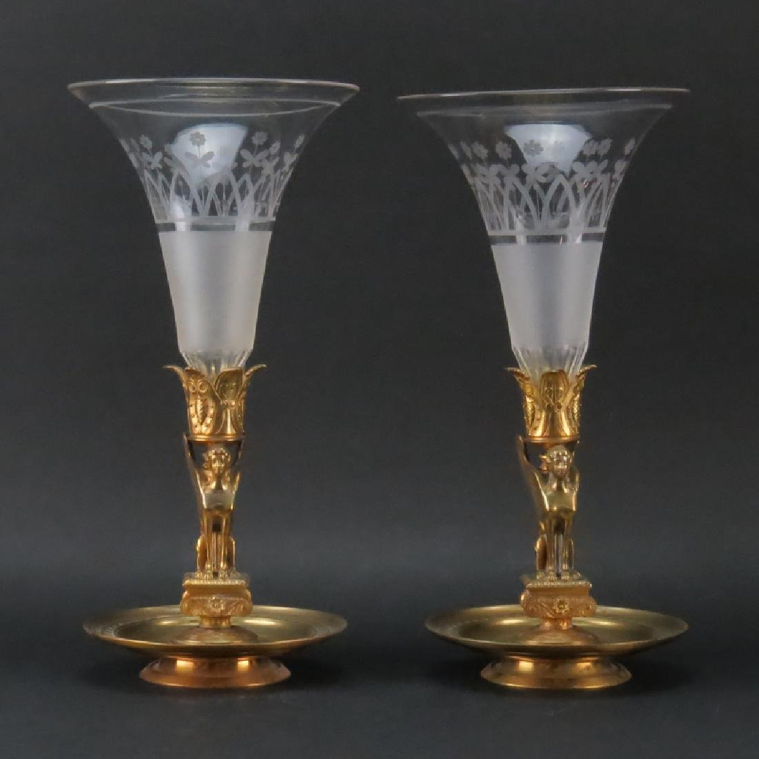 Pair Antique French Empire Ormolu and Etched Crystal