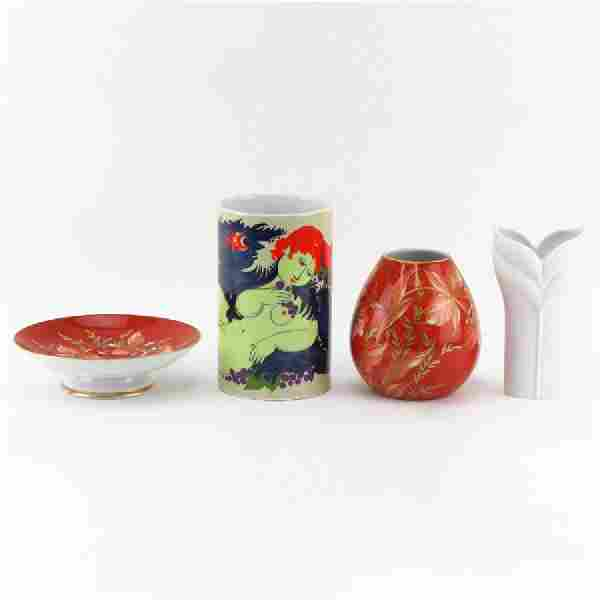 Four (4) Mid Century Porcelain Tabletop Items.