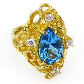 Ladys Vintage Pear Shape London Blue Topaz Round