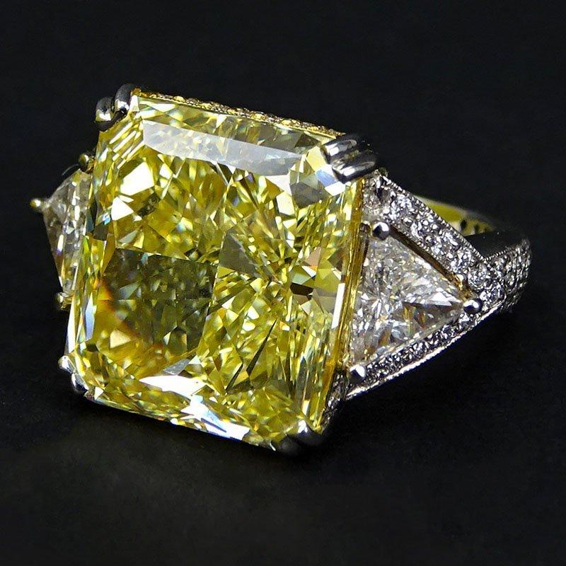 14.32 Carat Internally Flawless Yellow Diamond and Plat