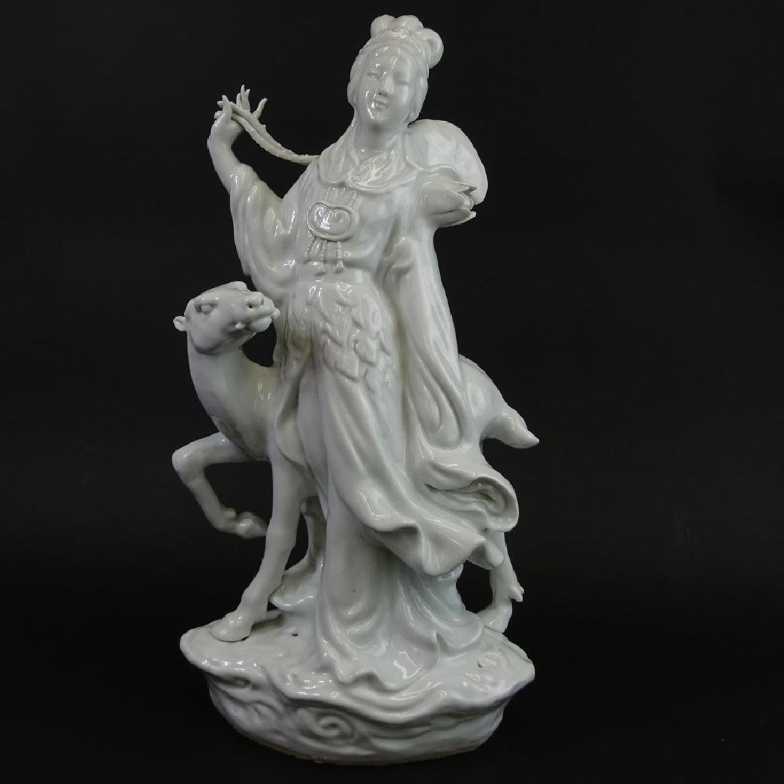 Large Mid Century Chinese Blanc Du Chine Lady With Deer