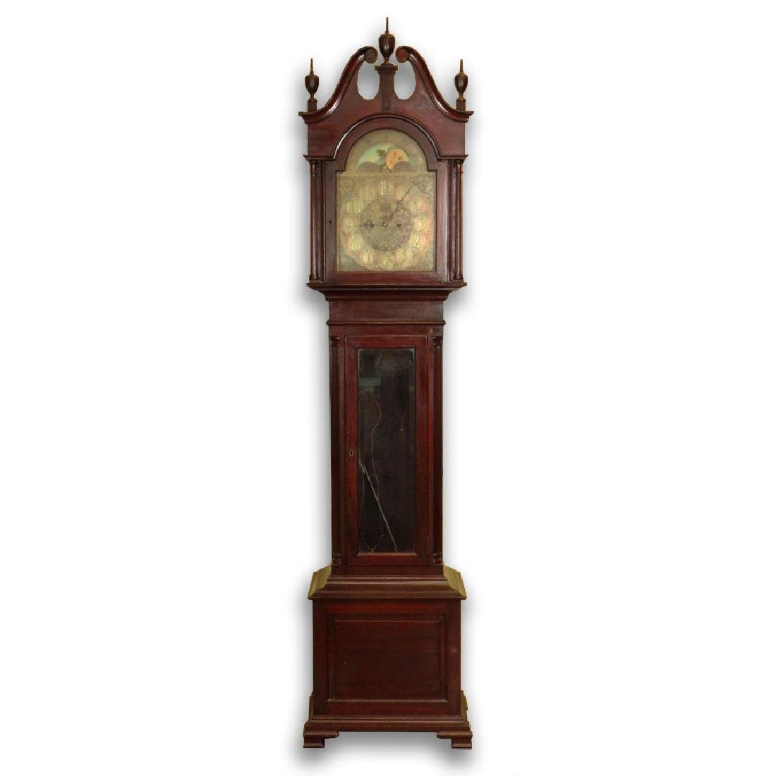 Antique German Grandfather Clock Retailed by Hershede.