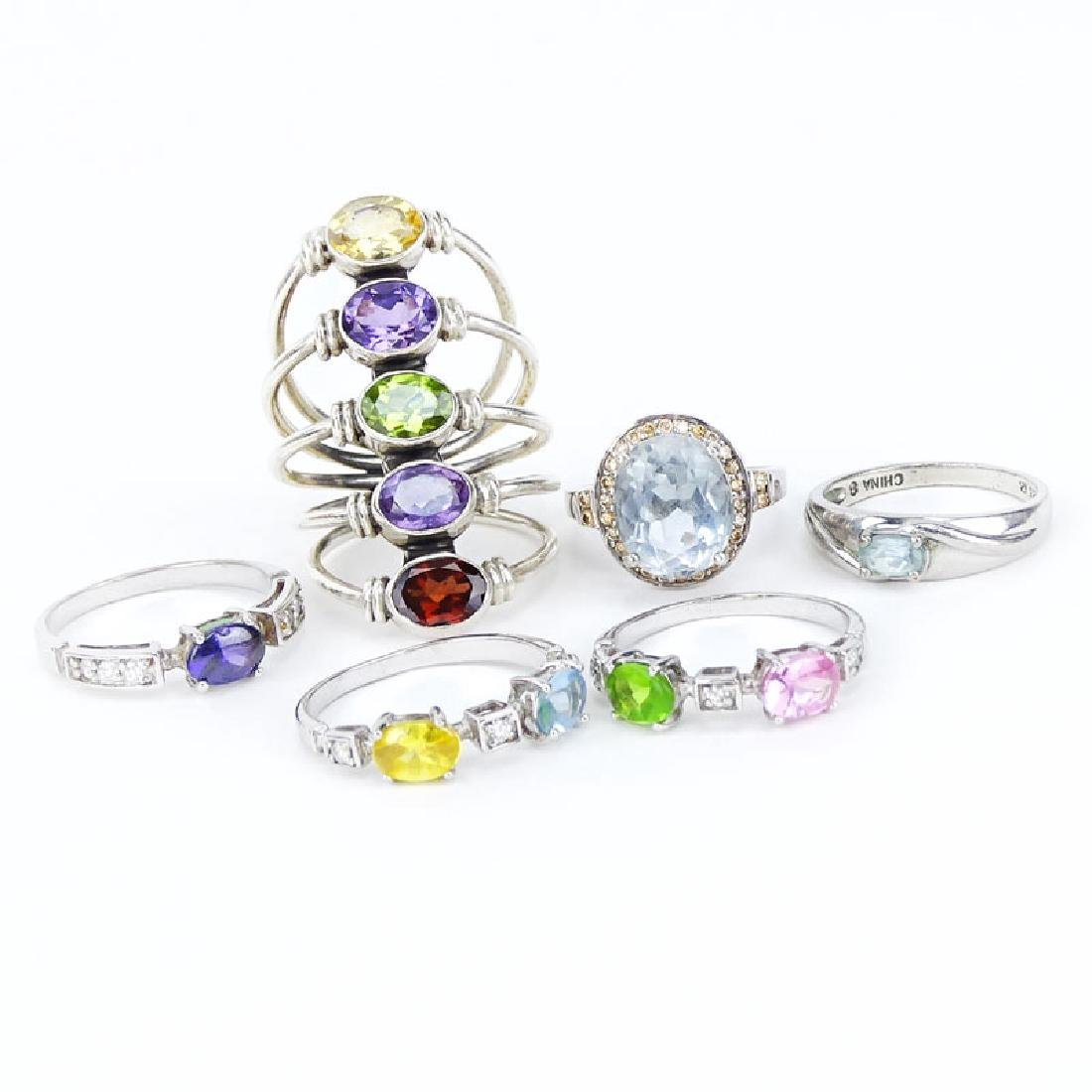 Collection of Six (6) Sterling Silver and Gem Stone