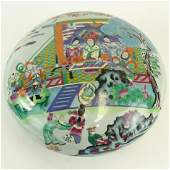 Large Chinese Hand Painted Porcelain Round Covered