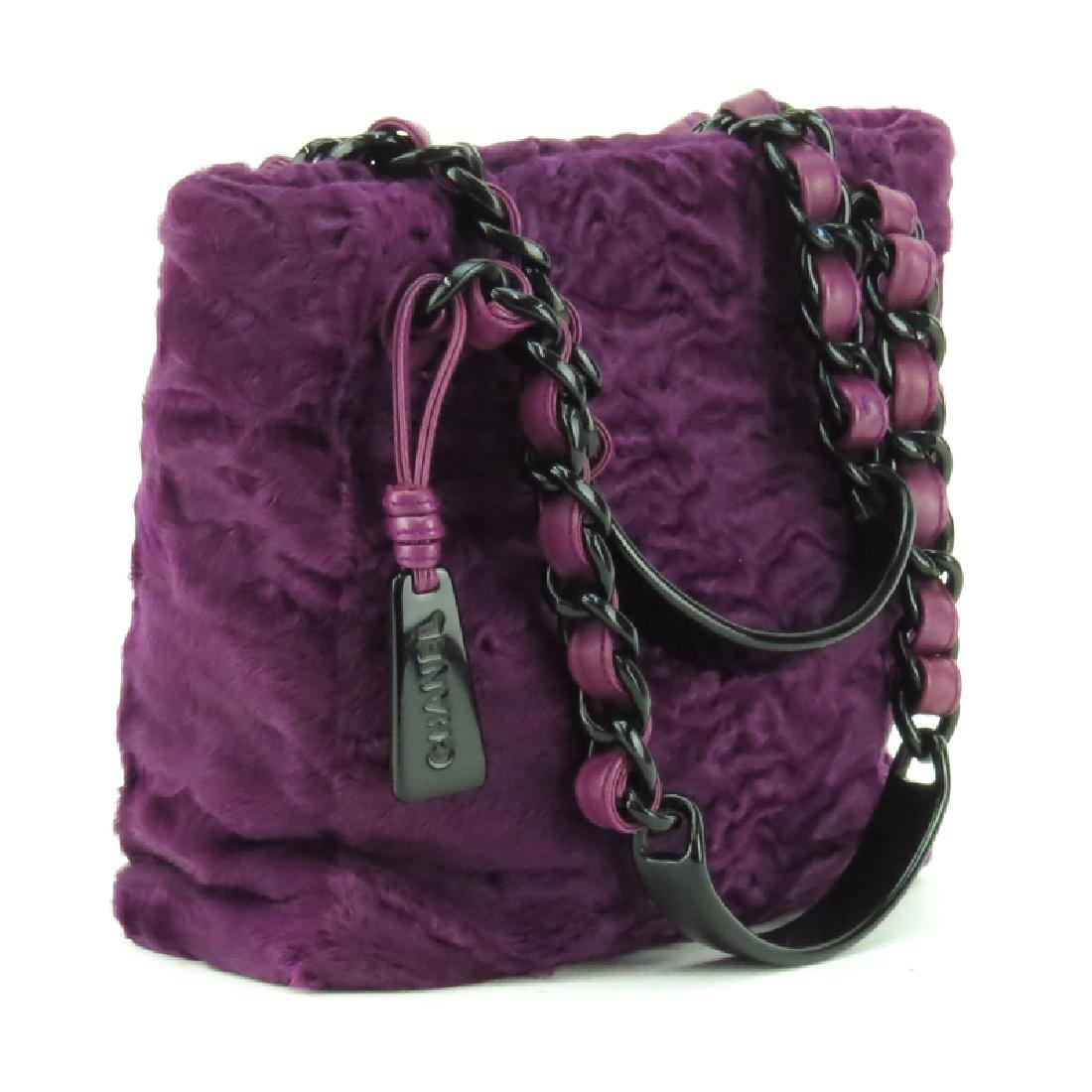 Chanel Purple Astrakhan Fur Small Tote. Black resin
