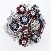 Vintage Cartier Diamond, Ruby, Sapphire and 18 Karat