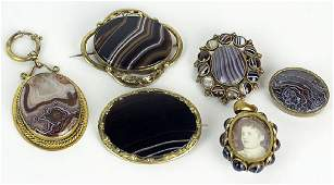 Collection of Six 6 Victorian Agate and Gold Filled