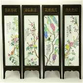 A Chinese Hand painted Porcelain Four Panel Table