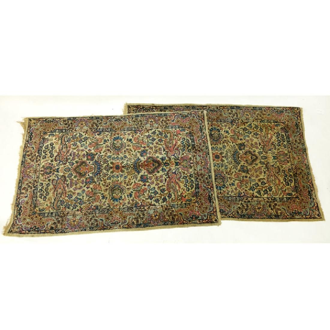 Pair of Semi Antique Kerman Rugs. Mainly tan with multi