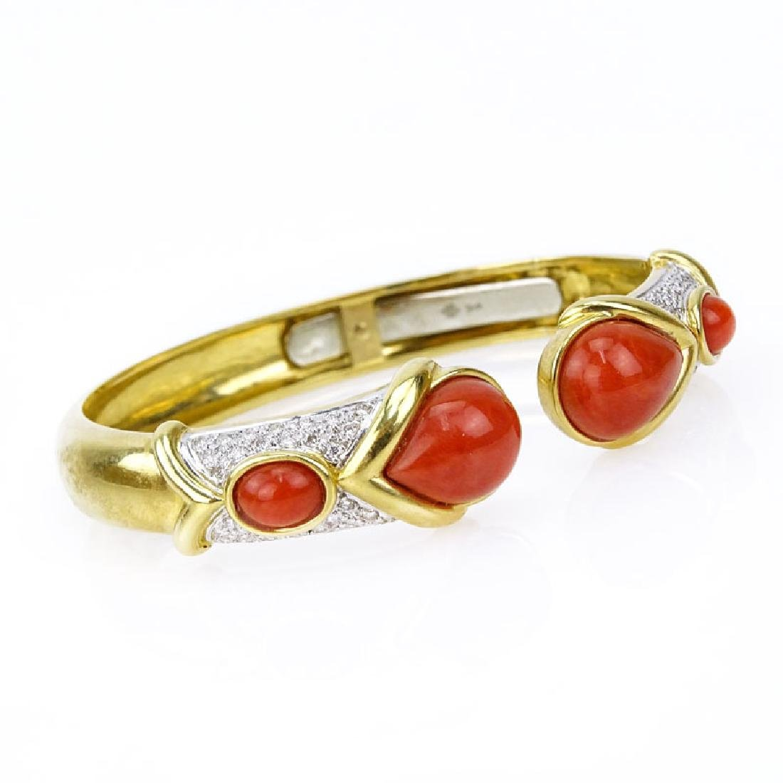 Vintage Italian 18 Karat Yellow Gold, Red Coral and