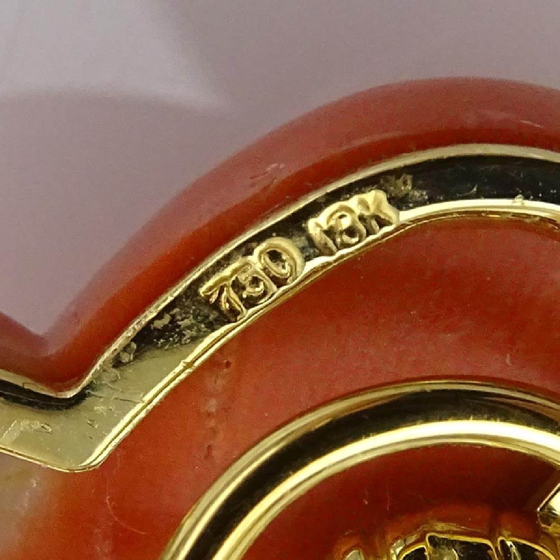 Vintage Italian 18 Karat Yellow Gold, Carved Red Coral - 4