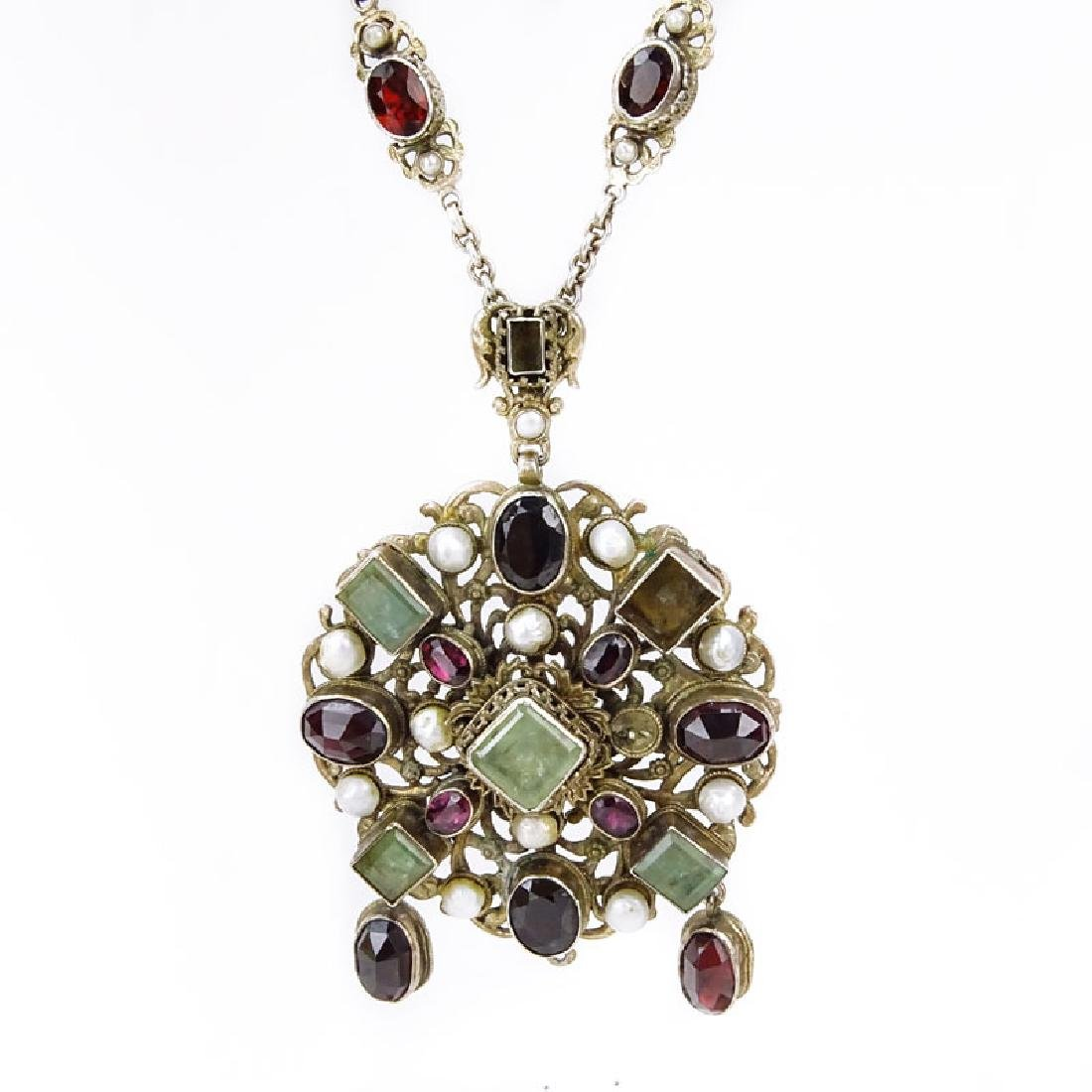 Antique Austro-Hungarian Emerald, Garnet, Pearl and Low