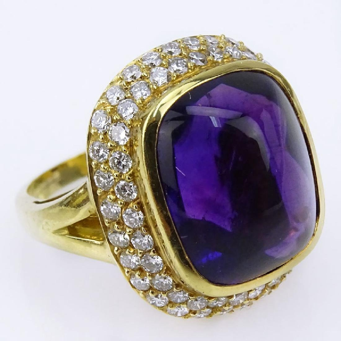 H Stern Sugarloaf Cabochon Amethyst, Pave Set Diamond
