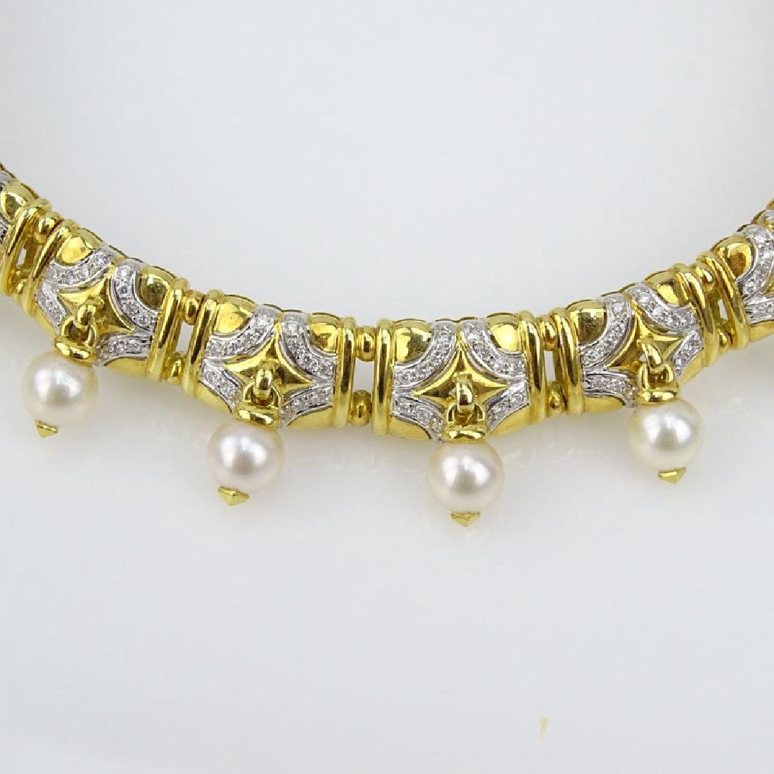 Vintage Bulgari style Heavy 18 Karat Yellow Gold, Pave - 2