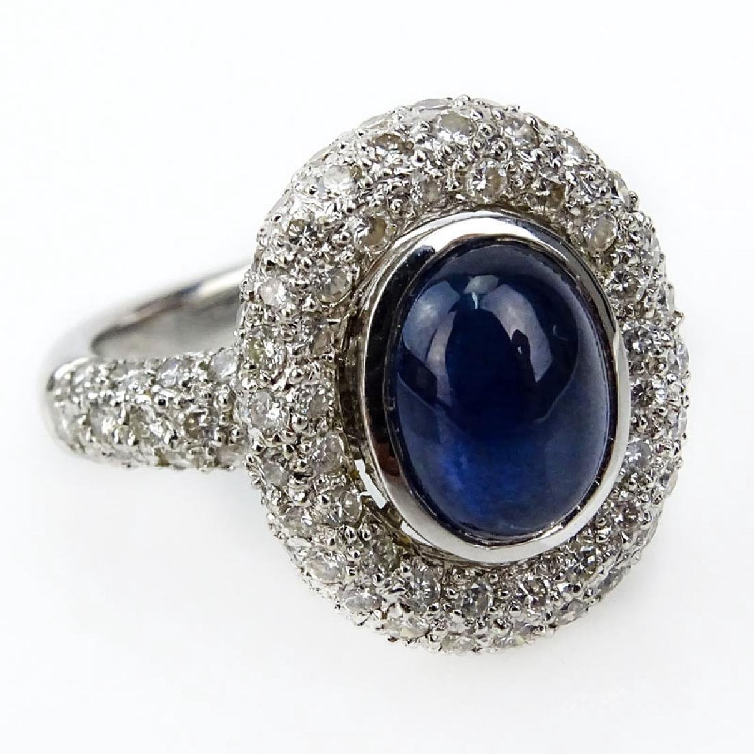 Italian Cabochon Sapphire, Pave Set Diamond and 18