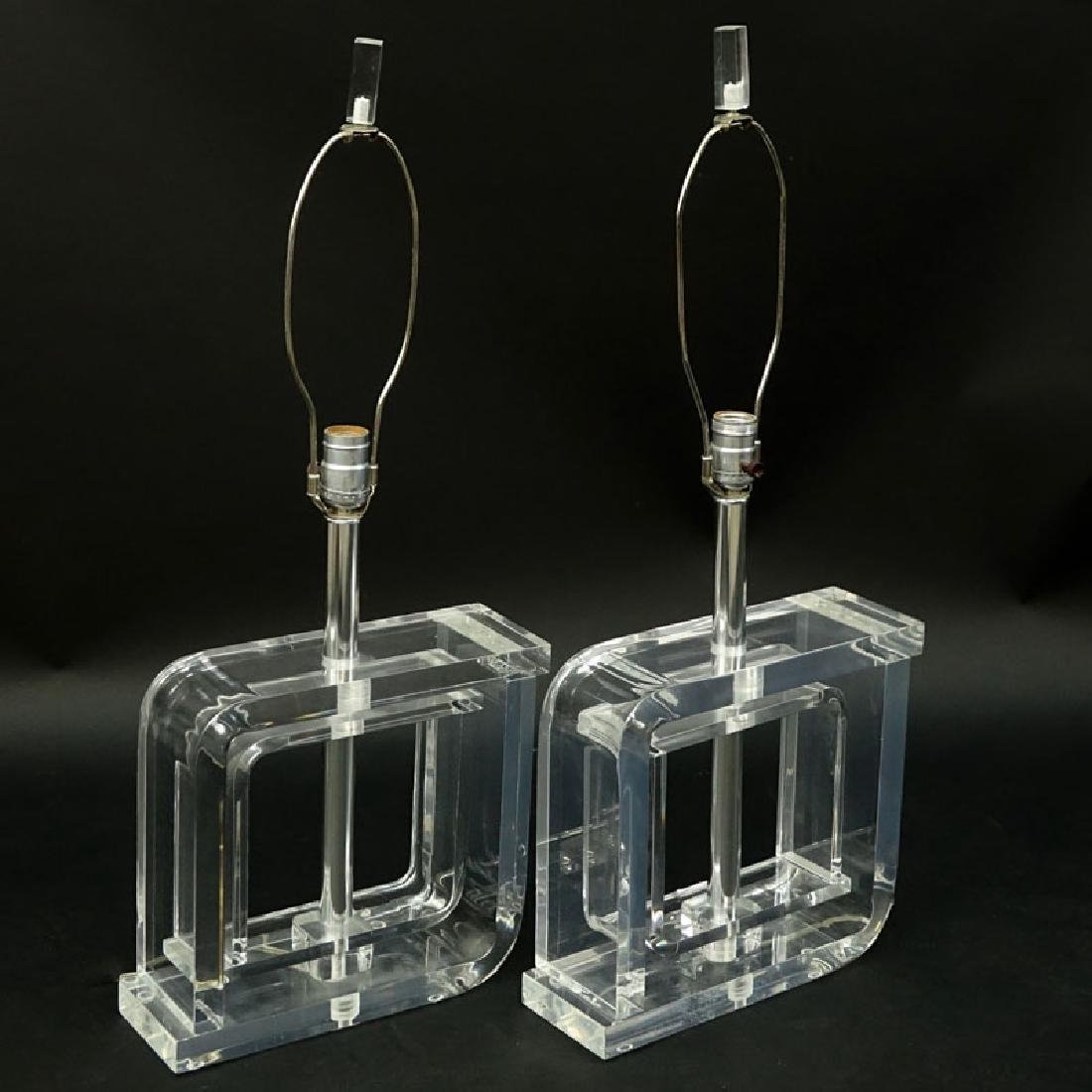 Pair of Mid Century Modern Lucite and Chrome Lamps. - 2