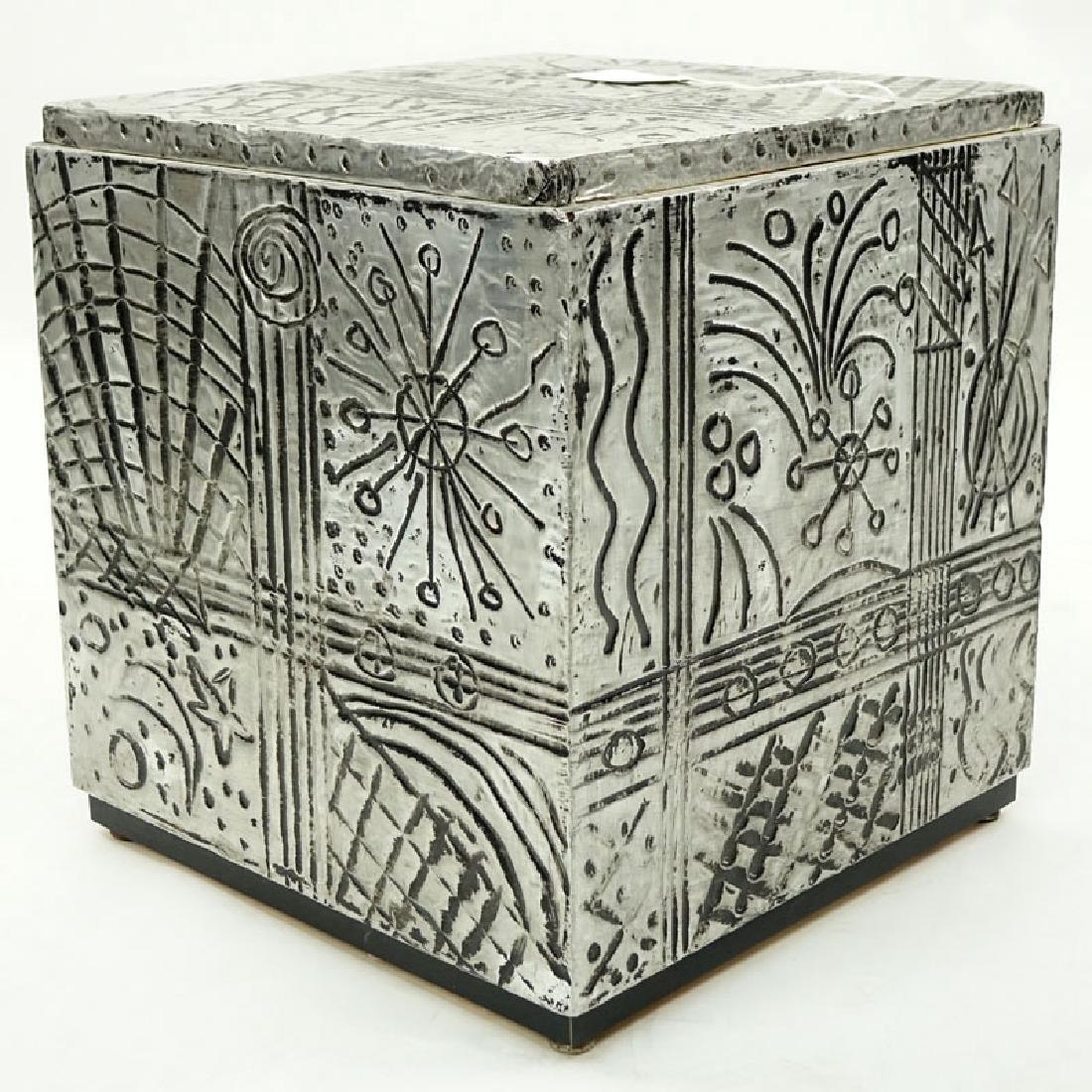 Vintage Arts and Craft Style Metal Clad Base/Pedestal. - 3
