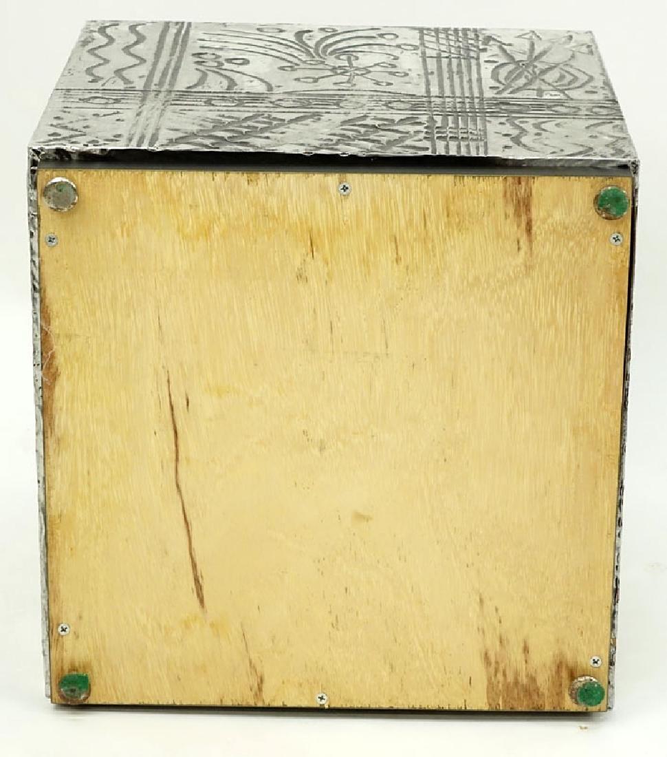 Vintage Arts and Craft Style Metal Clad Base/Pedestal. - 4