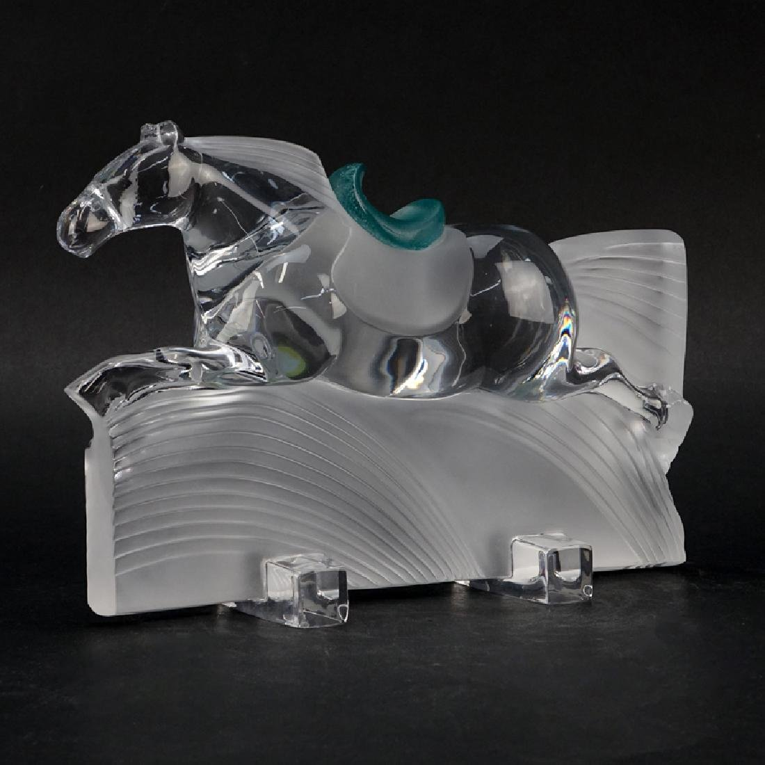 "Daum France ""Ming"" Horse Sculpture. Frosted and clear"