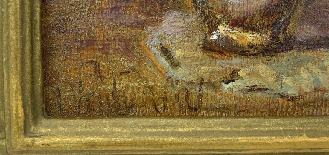 19th Century French Impressionist School Oil On Wood - 3