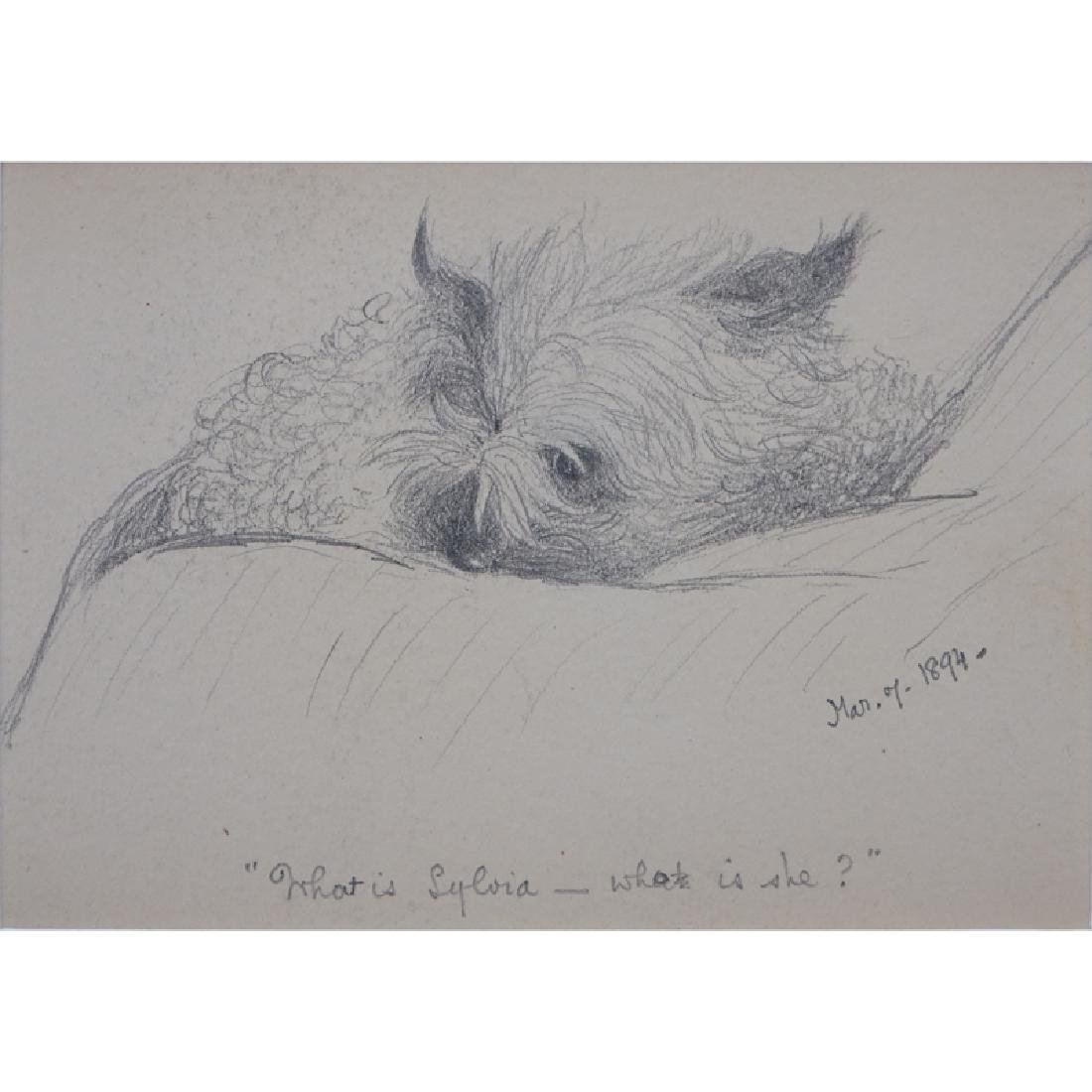 "19th Century American Pencil Drawing ""Small Dog"" Tilted"