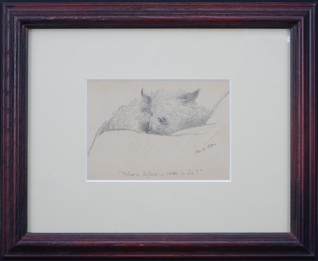 "19th Century American Pencil Drawing ""Small Dog"" Tilted - 2"
