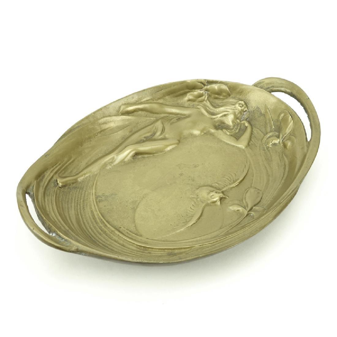 19/20th Century Gilt Bronze Art Nouveau Tray. Raised