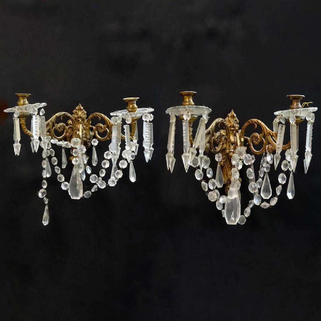 Pair of Gilt Brass and Crystal Wall Sconces. Rubbing to