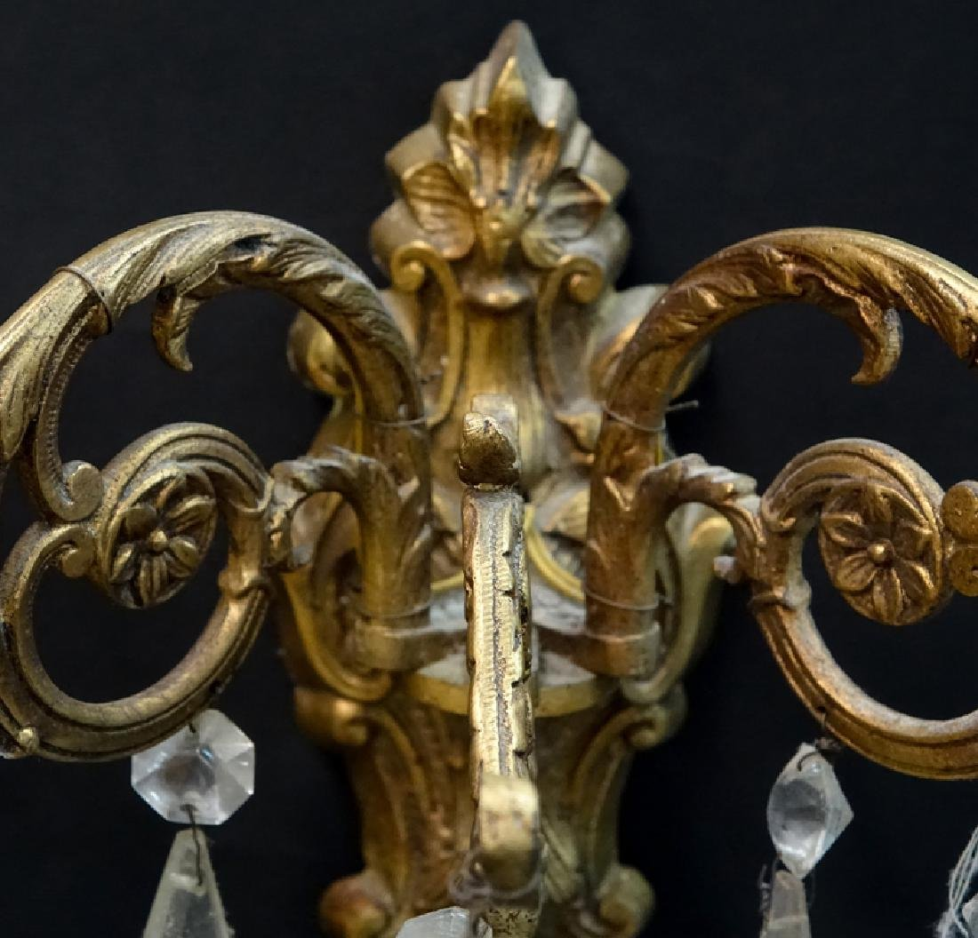 Pair of Gilt Brass and Crystal Wall Sconces. Rubbing to - 2