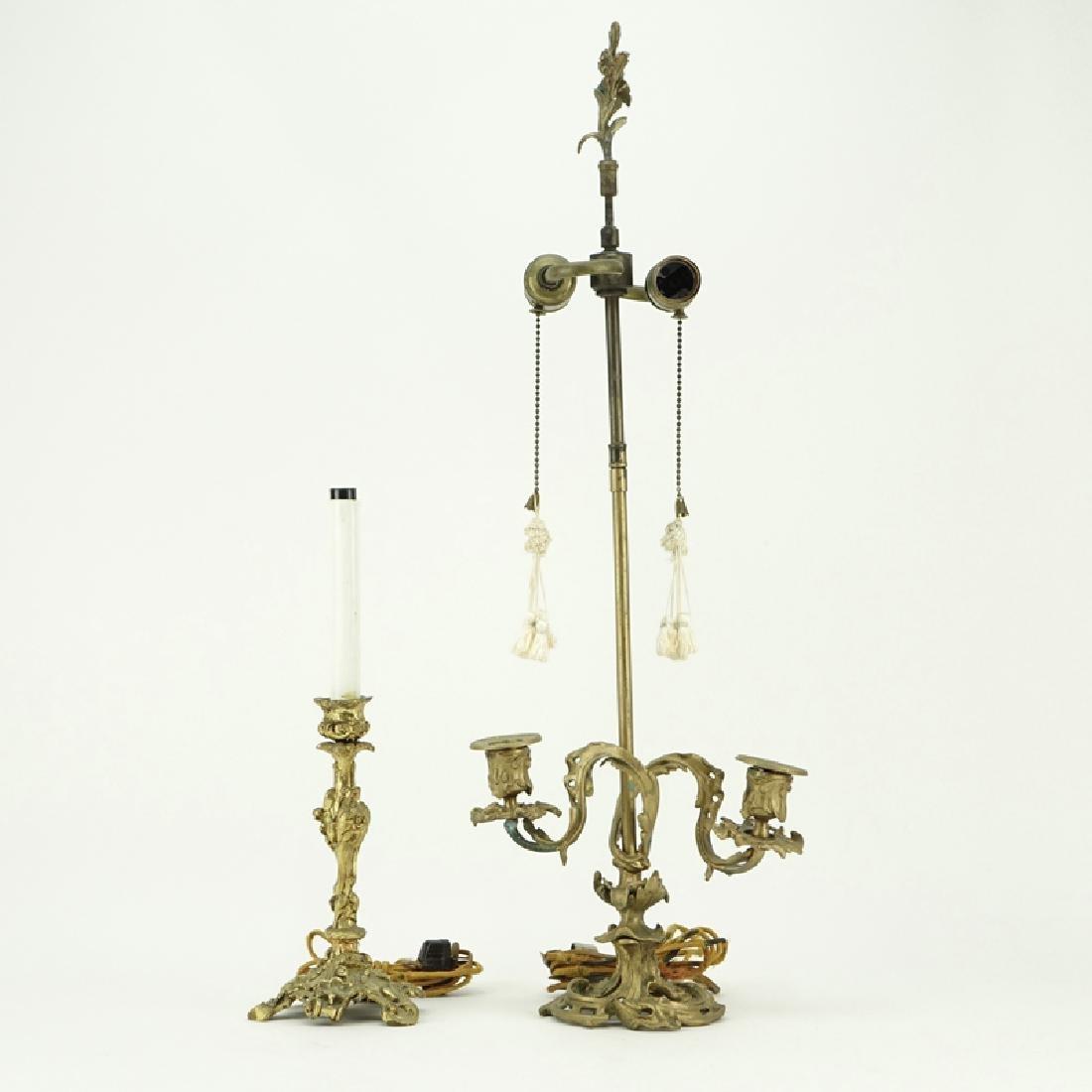 Two (2) Antique Art Nouveau Style Gilt Brass Lamps.