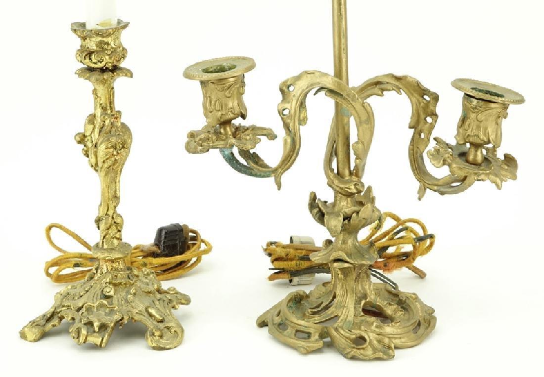 Two (2) Antique Art Nouveau Style Gilt Brass Lamps. - 2