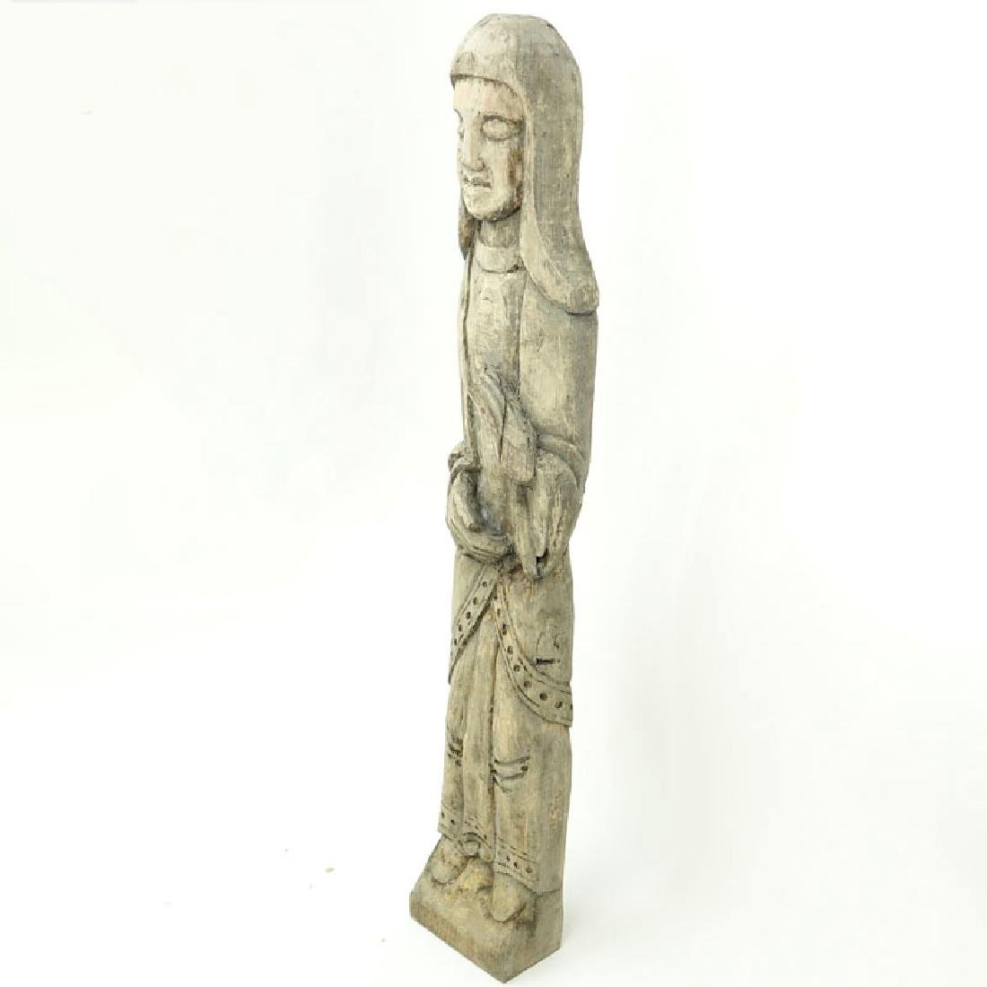 Old Wood Carved Folk Art Religious Idol. Usual wear to - 3