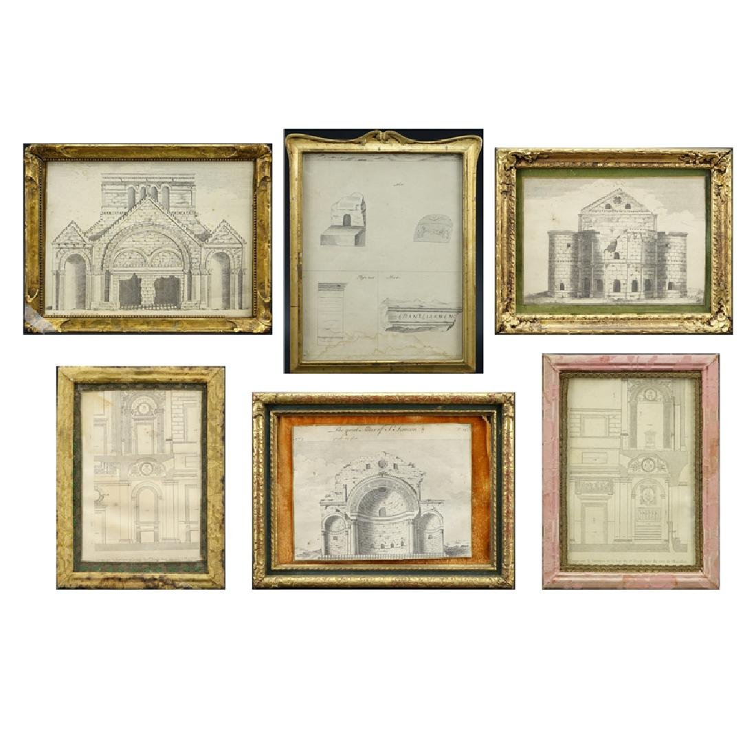 Grouping of Six (6) Antique to Vintage Engravings.