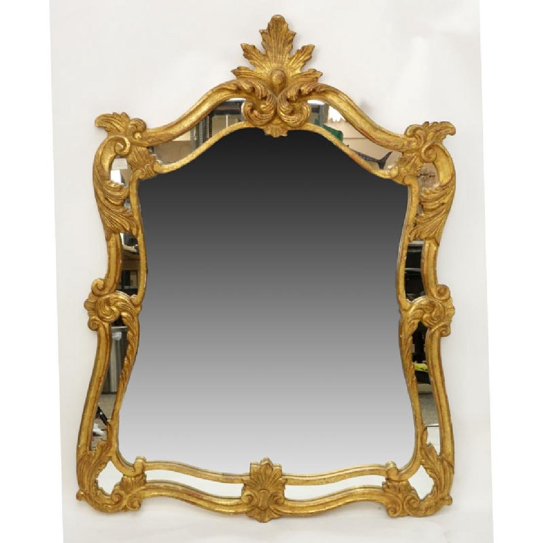 Large Decorative Giltwood Mirror. Probably Italian.