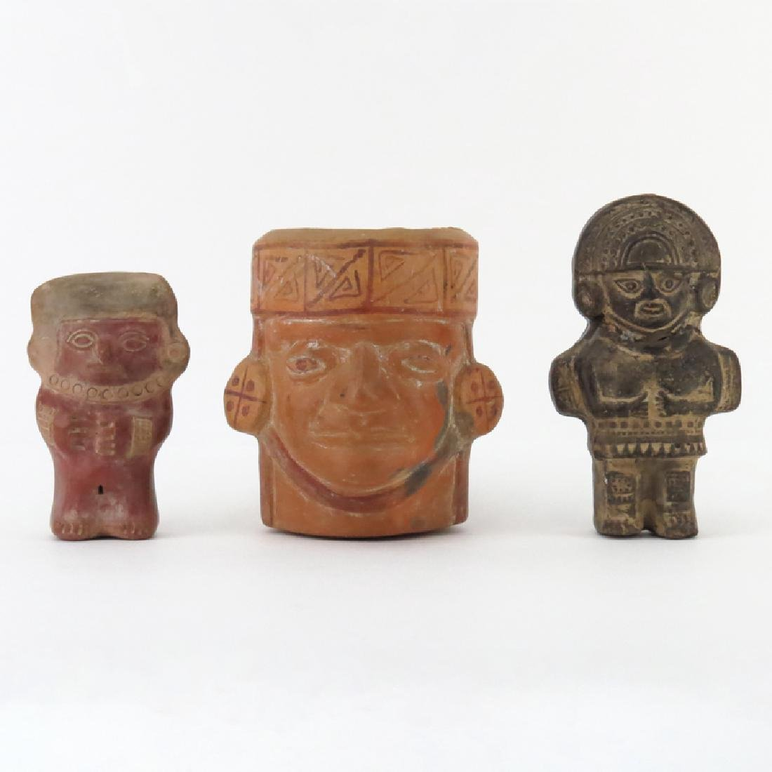 Three (3) Pre Columbian or Later Inca Pottery Figures.