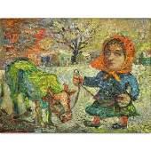 "David Burliuk, Ukrainian/American (1882- 1967) ""Woman"